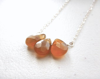 "Autumn Carnelian Necklace - Short Length 15.5"" / Unique Fall Jewelry Libra Scorpio, Orange Pumpkin Spice Minimalist Jewelry Gifts for Her"
