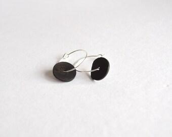 small hoop earrings silver hoop black disk earrings - black boho dangling earrings - small hoop earrings - black and silver hoop earrings