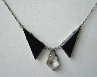 Art Deco Necklace Black and Clear Glass  1920's 1930's