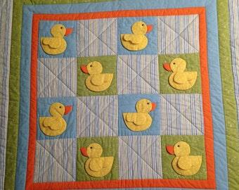 Baby Quilt / Baby Blanket / Handmade Quilt / Duck Quilt / Baby Shower Gift / 3D