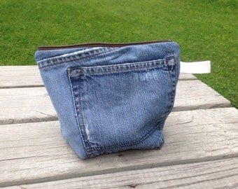 Repurposed Denim Large Cosmetic Bag or Art Supply Bag with Khaki Lining with Pocket, OOAK