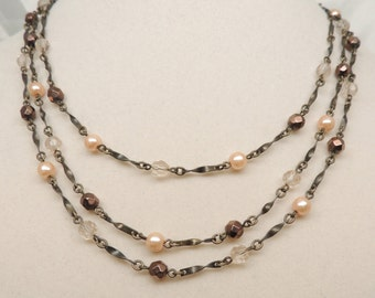 Vintage Multi-Strand Faux Crystal and Pearl Necklace