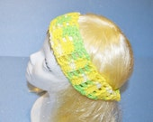 Yellow/Green Head Band, 100% Cotton, Crochet & Elastic, Made in the U S A