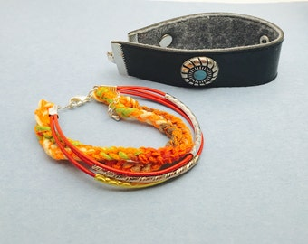 TURQUOISE Leather Cuff Bracelet, red leather string, crochet turkish, Hand Made in The USA, Item No. LB 008