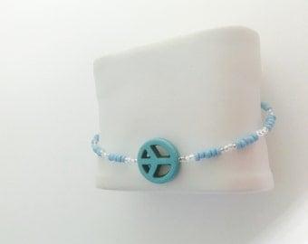 Peace Sign Bracelet, beaded, layering, turquoise, handmade, item no H012