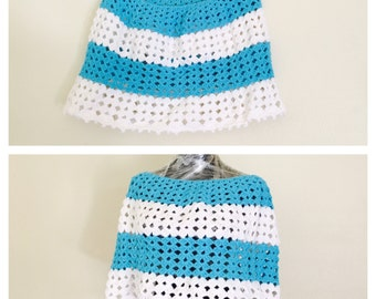 White & Turquoise Poncho/Cape, Hipster, Crochet, Hand Made in the U S A, item no deBg09