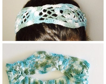 Floral Head Band, Crochet, 100% blue ombré Cotton, Made in the U S A, item no DeBg10