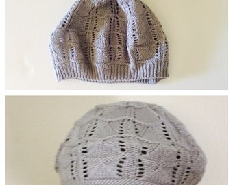 Knit Slouchy Hat/Beanie, Grey, Unisex Winter Accessory, Hand Made in the U S A, Item No. BDE004