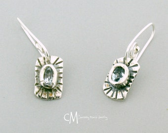 Aquamarine earrings, drop earrings, handmade earrings, silver earrings, March Birthday, Birthstone jewelry, handmade jewelry,artisan jewelry