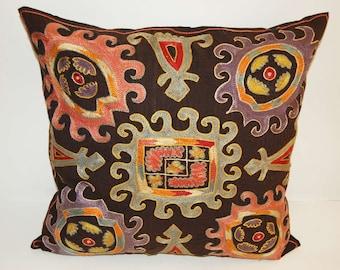 Beautiful  handmade      Lakay  flowers pattern Suzani Pillow Cover cushion  original silk  19.5 x 19.5 inch
