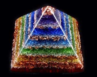 Chakra Orgonite Pyramid. Orgone Generator with Appropriate Stones.  Crystals, Phenacite, Rhodizite, Petalite, Selenite, Shungite, Tourmaline