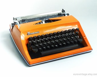Vintage Contessa DeLuxe Orange Portable Typewriter / Triumph Adler Contessa