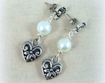 Heart Earrings with Pearl - Antiqued Silver Post Setting - Victorian Heart Charm with White Pearl - Post Earrings