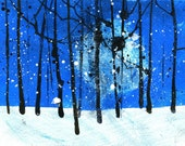 Original woodland painting forest painting - Winter treescape with big moon in blue