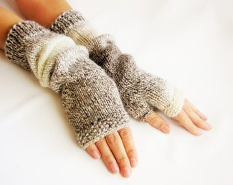 LONG Fingerless Gloves  Merino Wool Mittens  Arm Warmers   Hand Knitted  Eco Friendly Beige Ombre Gloves