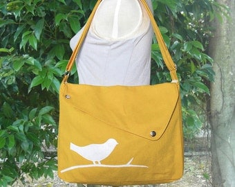 Golden cotton canvas messenger bag / shoulder bag / bird messenger /diaper bag / cross body bag