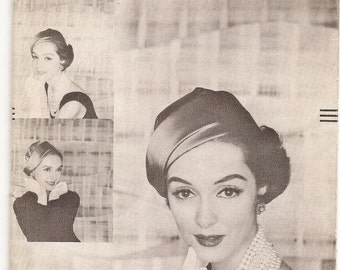 1950s Vogue Designer Hat Pattern by John Frederics Profile Hat Pattern Vogue 9328 Womens Sewing Pattern