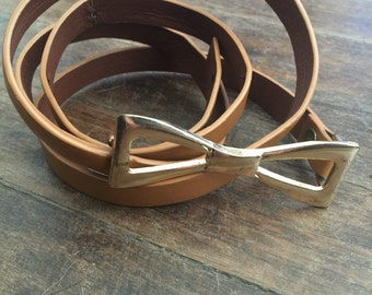 FREE SHIPPING//Thin leather belt with gold bow closure