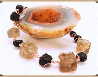 CUBES NOIR    Smokey Quartz Basalt Lava Stone Bracelet