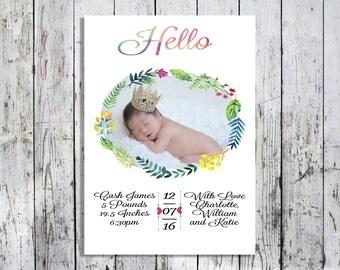 Laurel Watercolor Birth Announcement- Printable File