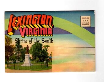 Vintage Lexington Virginia Postcard Souvenir Folder Washington and Lee University