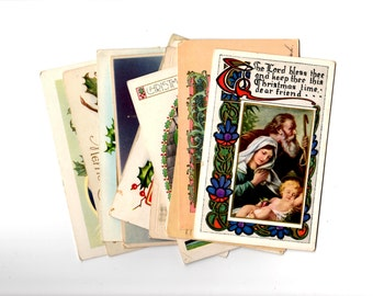 12 Antique Religious Christmas Postcards - Vintage Christmas Crafts, Scrapbooking, Collage, Decor, December Daily Supplies