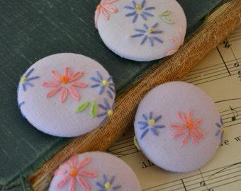 Vintage Handmade Floral Fabric Magnets Set of 4 - #8