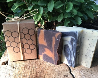 Soap Sampler Gift Box - 3 bars of handcrafted soap in a decorative gift package