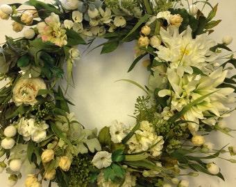 Wedding Wreath - White on White Wreath-Wedding Decoraion White-Wreath for Wedding-church Wedding Decoration-Wedding Reception-Floral Wreath