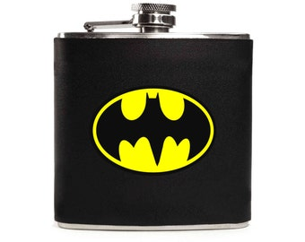 Batman Flask, Black Leather Flask, Superhero Birthday, Guys Gift, Personalized, Stainless Steel 6oz Hip Flask