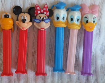 Vintage Set of 6 Disney PEZ. MInnie, Mickey, Donald, Daisy and Pluto. All different.