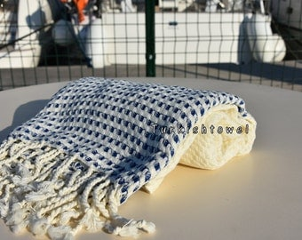 Turkishtowel-2016 Collection-HASIR-Hand woven,very soft,cotton and bambo,Bath,Beach,Travel,Wedding Towel-Navy stripes on Natural Cream