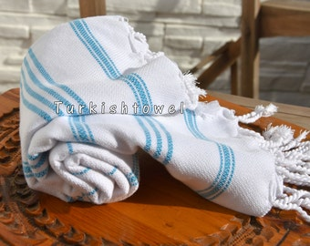 Turkishtowel-Soft-Hand woven,warp&weft cotton Hand,Tea,DishTowel-Twill pattern,Turquoise stripes on White