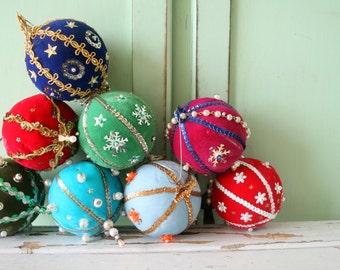 1960s christmas ornamentscolorful rainbow retro christmas tree fabric - Retro Christmas Trees