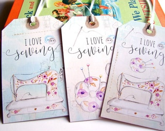 Sewing Gift Tags * I Love Sewing Needle And Thread Sewing Machine Pincushion Straight Pins Scissors Buttons Sew - Set Of 3 X Lg Asst Tags