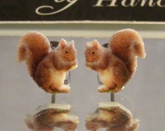 Squirrel Stud Earrings - animal jewelry - Nature