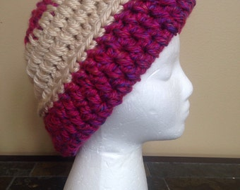 Handmade woman's hat, winter stocking cap, gift for her, warm ski hat, acrylic crocheted hat, Christmas gift for teen, magenta and ivory hat