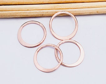 4 of 925 Sterling Silver Rose Gold Vermeil Style Circle Links, Connectors 12 mm. Polish Finished :pg0231
