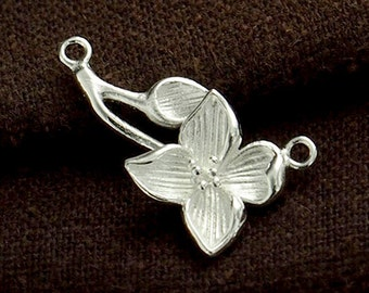 1 of 925 Sterling Silver Flower Branch Link, Connector 15x22mm.   :th2387