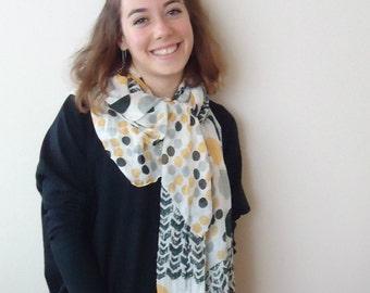 YELLOW GRAY BLACK polka dot scarf,neckwarmer ,cowl,crincle scarf