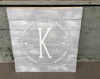 Circle Single Letter Monogram Reclaimed Wood Sign