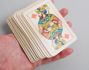 Set of 52 Vintage paper playing cards, used
