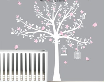 White Tree Decal with Pink Flowers-Bird Decals-Nursery Wall Decals-Baby Wall Decor-Wall Stickers-05
