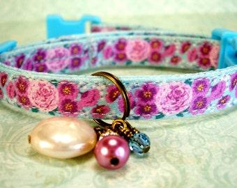 Safety Cat Collar - Breakaway Collar - Toy Dog Collar - Small Dog Collar - Violet Roses Collar - Gemstone Charm Collar