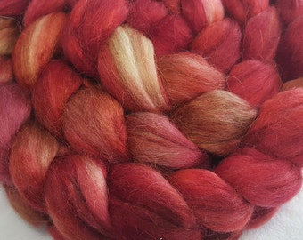 Alpaca/Merino/Tussah Silk Roving-50/30/20-Hand Dyed/Painted - 4 oz - Red and Caramel