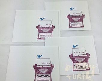 Typed Greetings, Hand-Stamped, Notecard Set of 4 (raspberry)