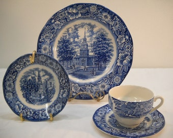 Vintage Liberty Blue Large And Small Plate On Gold Stands Plus Teacup And Saucer