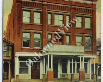 Corning New York Odd Fellows Temple Postcard, Upstate NY Fraternal Order, Northeast Northeastern, Antique 1908 Color Ephemera, FREE SHIPPING