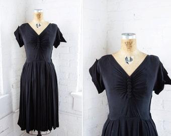 1940 Dress - 40s Dress - Black Rayon Crepe Ruched Dress