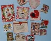 Vintage Valentines Day Cards,  Assorted 1940s,  FOURTEEN total